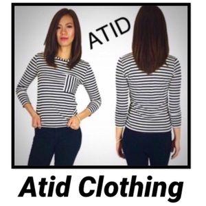 Atid Striped Contrast Pocket Hola Top